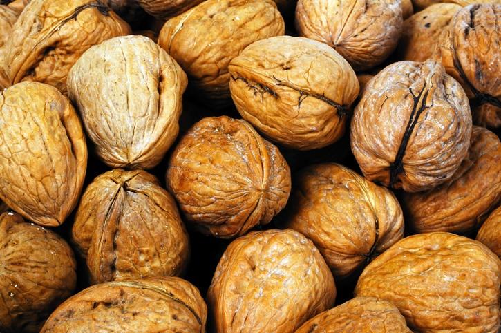 Whole walnuts in shells.